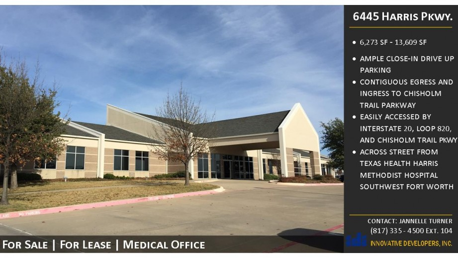 Offers its tenants excellent medical space. Convenient location to Texas Health Harris Methodist Hospital Southwest Fort Worth