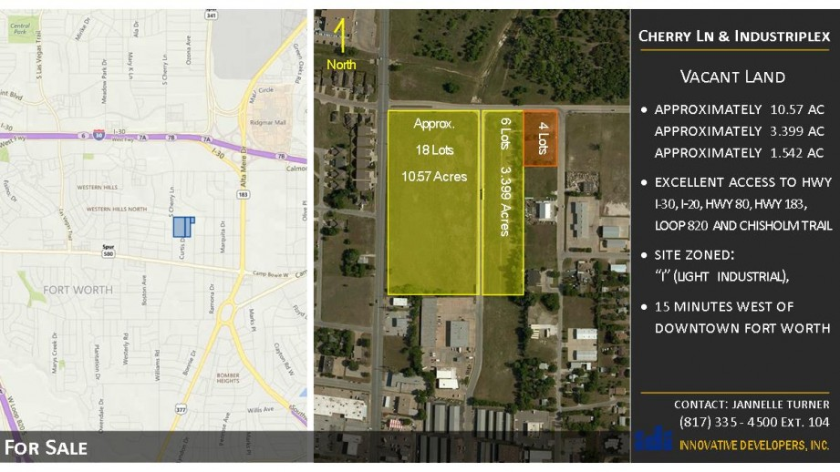 Commercial land located west of downtown Fort Worth, two blocks south of I-30 with frontage on Cherry Lane, Calmont Street, and Slocum Avenue